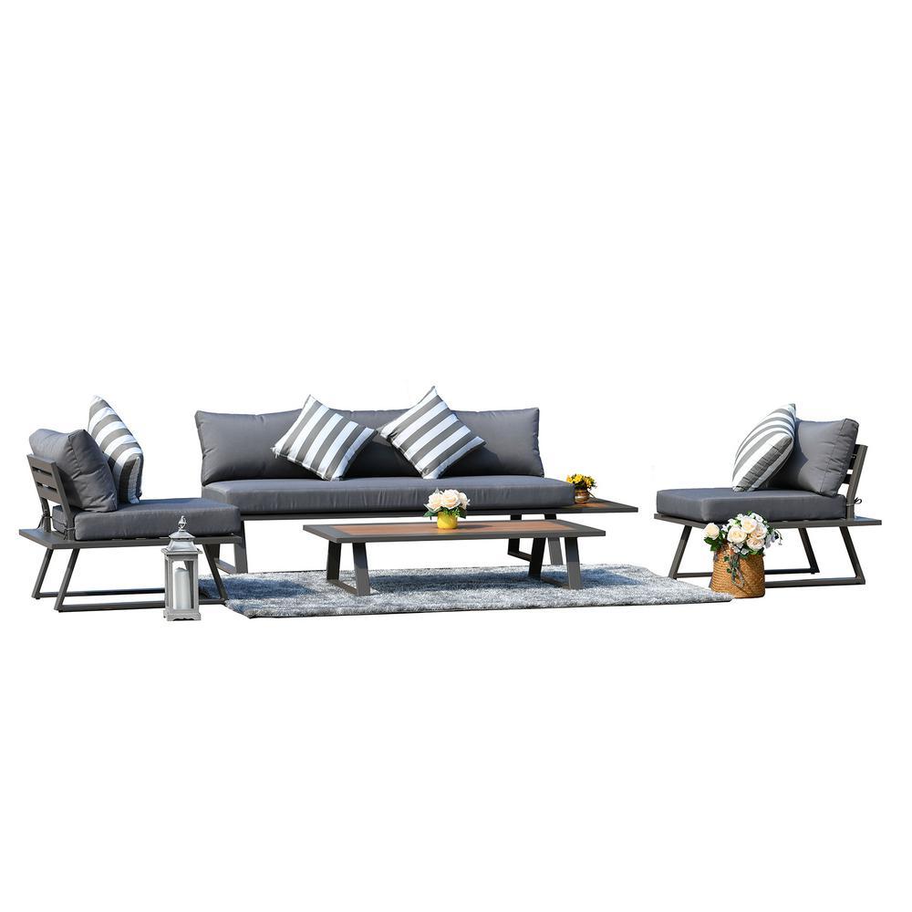 Cathelina Dark Grey Aluminum 4-Piece Outdoor Sofa Sets With Grey Cushion