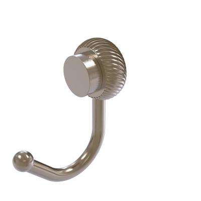 Venus Collection Wall-Mount Robe Hook with Twisted Accents in Antique Pewter