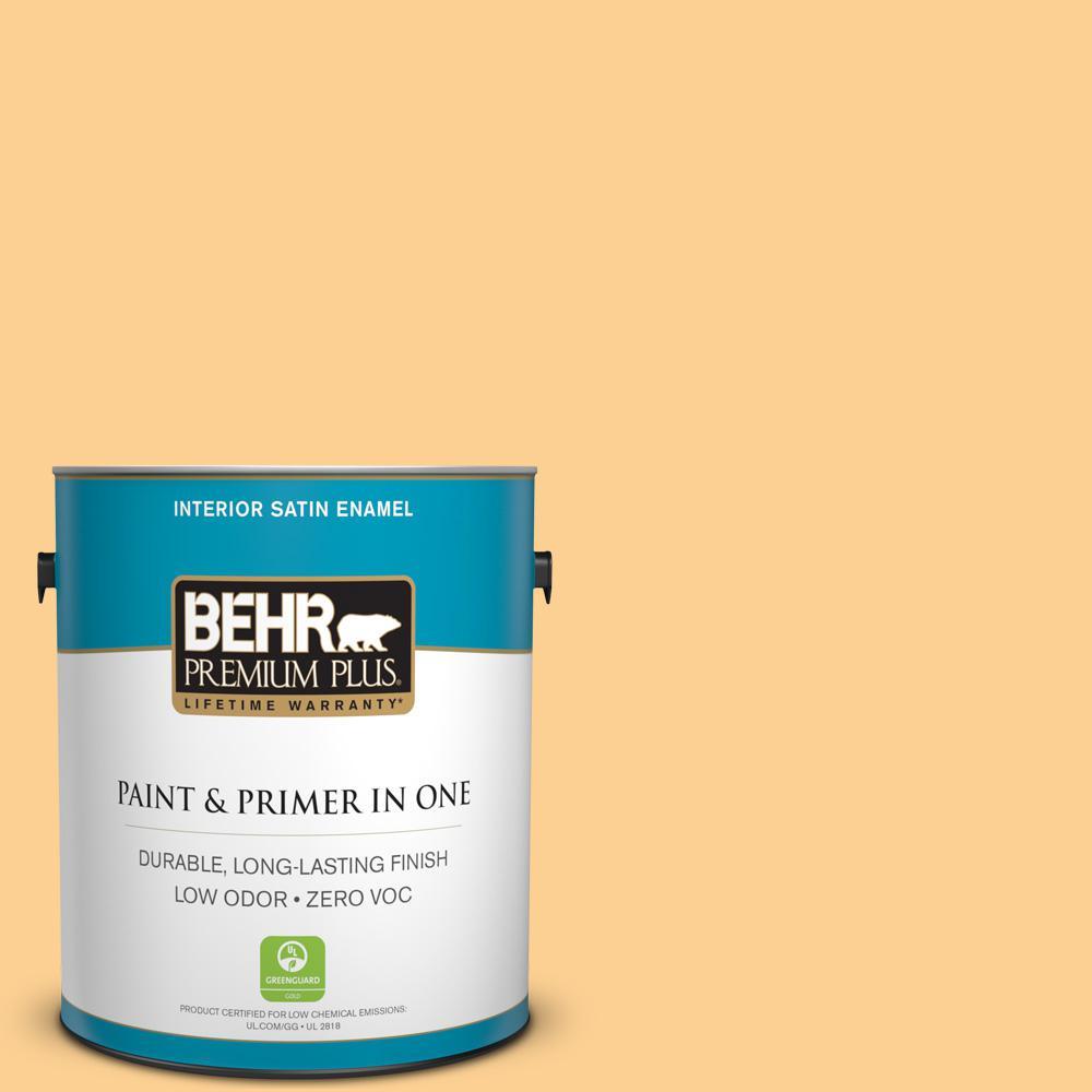 BEHR Premium Plus 1-gal. #HDC-SP14-7 Full Bloom Zero VOC Satin Enamel Interior Paint