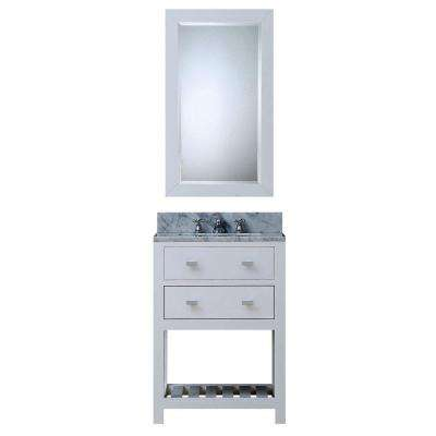 24 in. W x 21.5 in. D Vanity in White with Marble Vanity Top in Carrara White, Mirror and Chrome Faucet