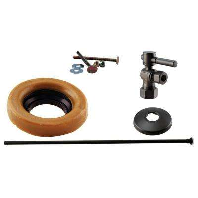1/2 in. Nominal Compression Lever Handle Angle Stop Toilet Installation Kit in Oil Rubbed Bronze