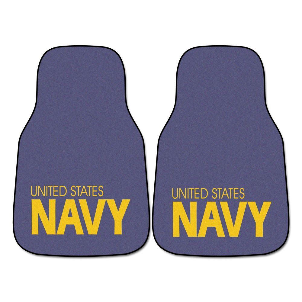U.S. Navy 18 in. x 27 in. 2-Piece Carpeted Car Mat Set