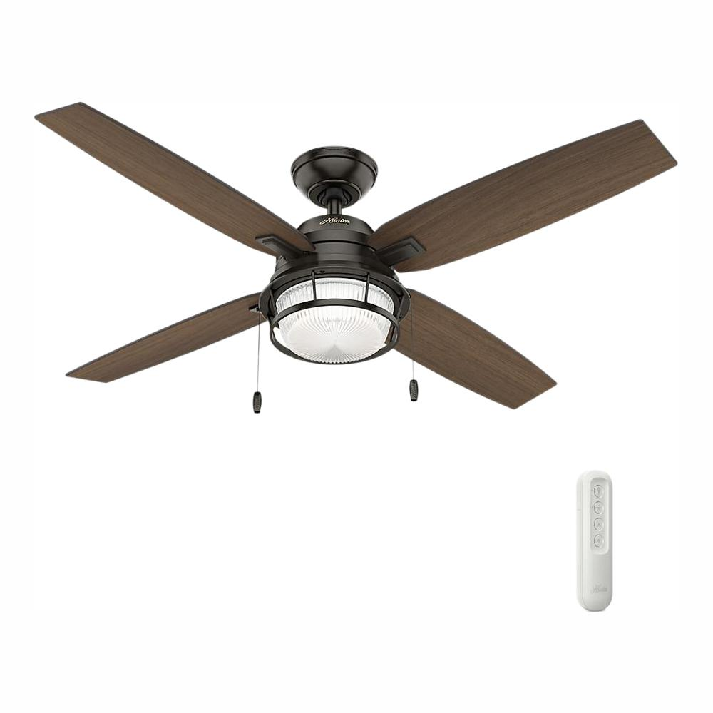 Hunter Ocala 52 in. LED Indoor/Outdoor Noble Bronze Ceiling Fan with Light and bundled with remote control