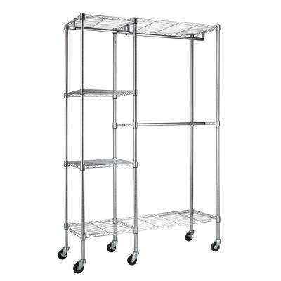 4-Shelf Chrome Steel Clothes Rack with Wheels (48 in. W x 74 in. H)