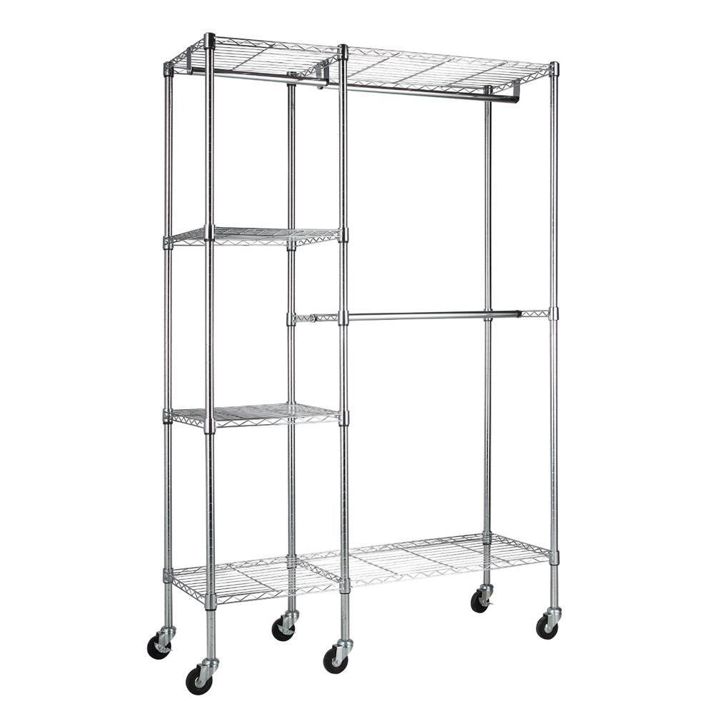 Sandusky 4-Shelf 48 in. W x 74 in. H x 18 in. D Steel Garment Rack in Chrome with Wheels