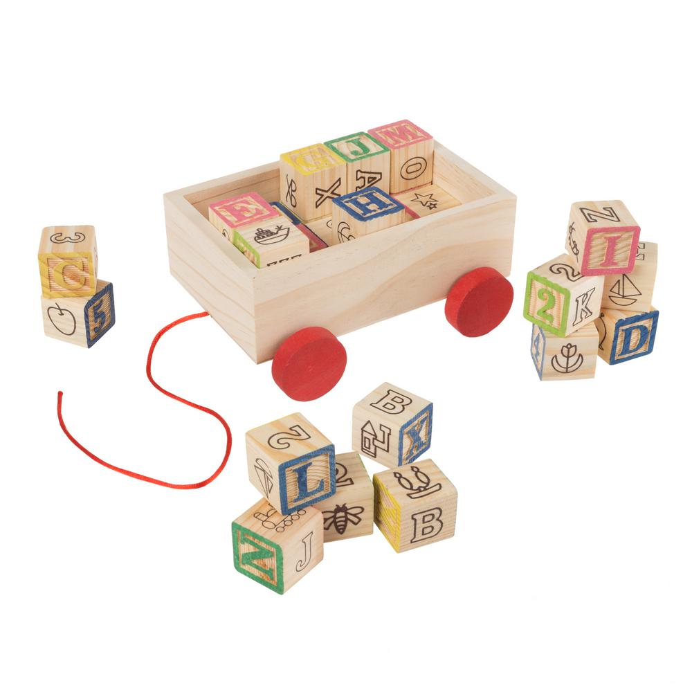 Hey Play Abc And 123 Wooden Blocks With Pull Cart Storage Box