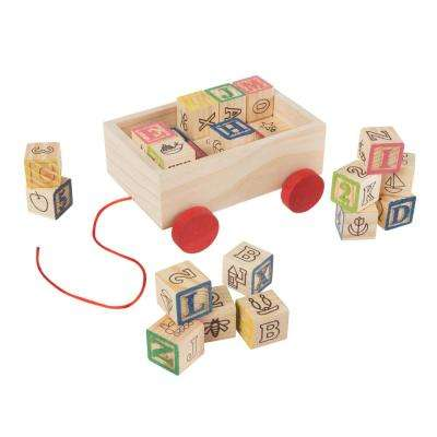 ABC and 123 Wooden Blocks with Pull Cart Storage Box