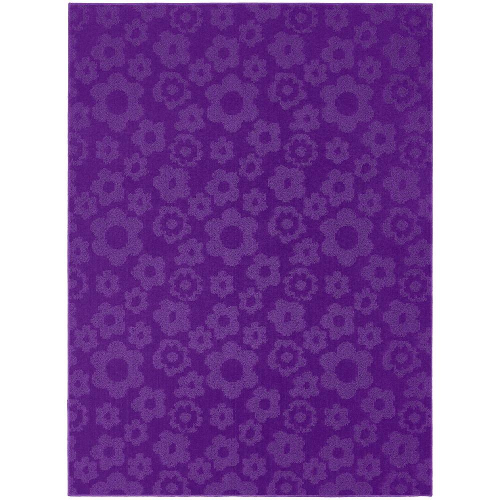 Garland Rug Flowers Purple 8 ft. x 10 ft. Area Rug