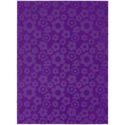 Flowers Purple 8 ft. x 10 ft. Area Rug