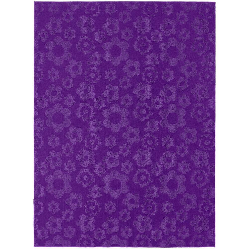 Flowers Purple 7 ft. 6 in. x 9 ft. 6 in. Area Rug