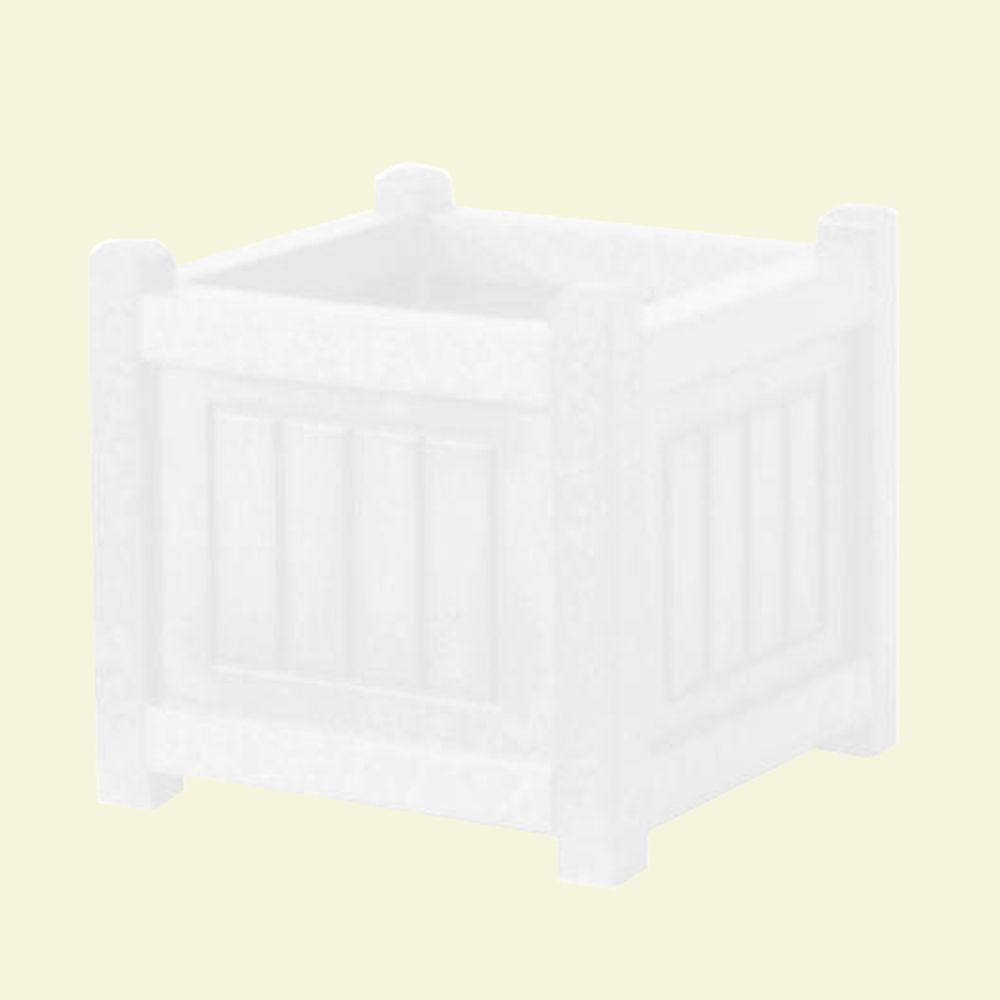 Eagle One Nantucket 12 in. x 12 in. White Recycled Plastic Commercial Grade Planter Box