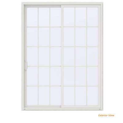 72 in. x 96 in. V-4500 Contemporary White Vinyl Left-Hand 15 Lite Sliding Patio Door