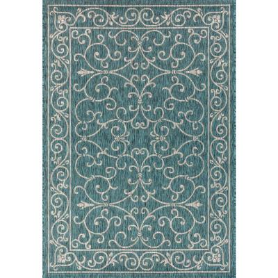 Charleston Vintage Filigree Textured Weave Indoor/Outdoor Teal/Gray 8 ft. x 10 ft. Area Rug