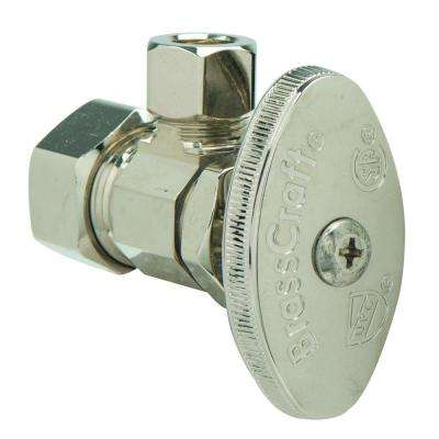 1/2 in. Nom Comp Inlet x 3/8 in. O.D. Comp Outlet Multi-Turn Angle Valve in Polished Nickel