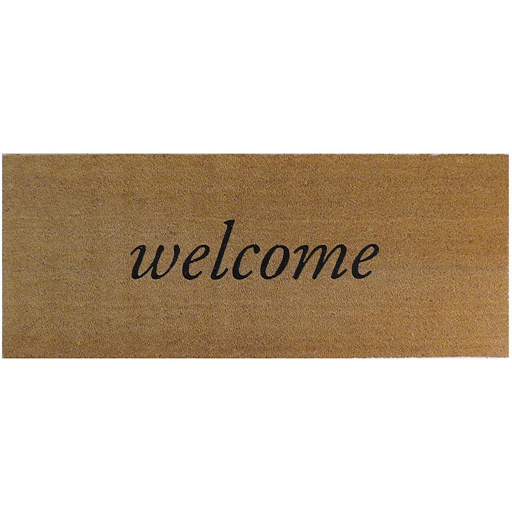 Welcome 60 in. x 24 in. Slip Resistant Coir Door Mat