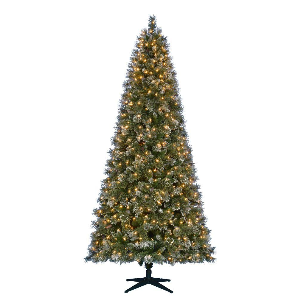 Martha Stewart Living 9 ft. Pre-Lit LED Sparkling Pine Quick-Set ...