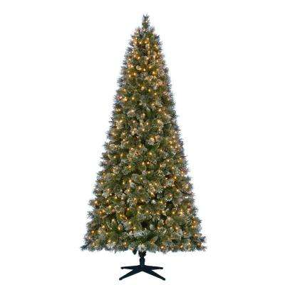 9 ft. Pre-Lit LED Sparkling Pine Quick-Set Artificial Christmas Tree with Pinecones and 600 Warm White Lights