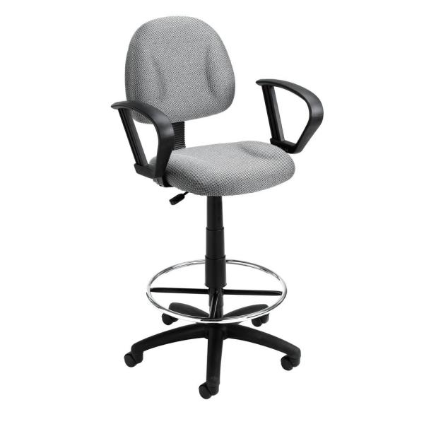 Boss Grey Drafting Stool with Loop Arms B1617-GY