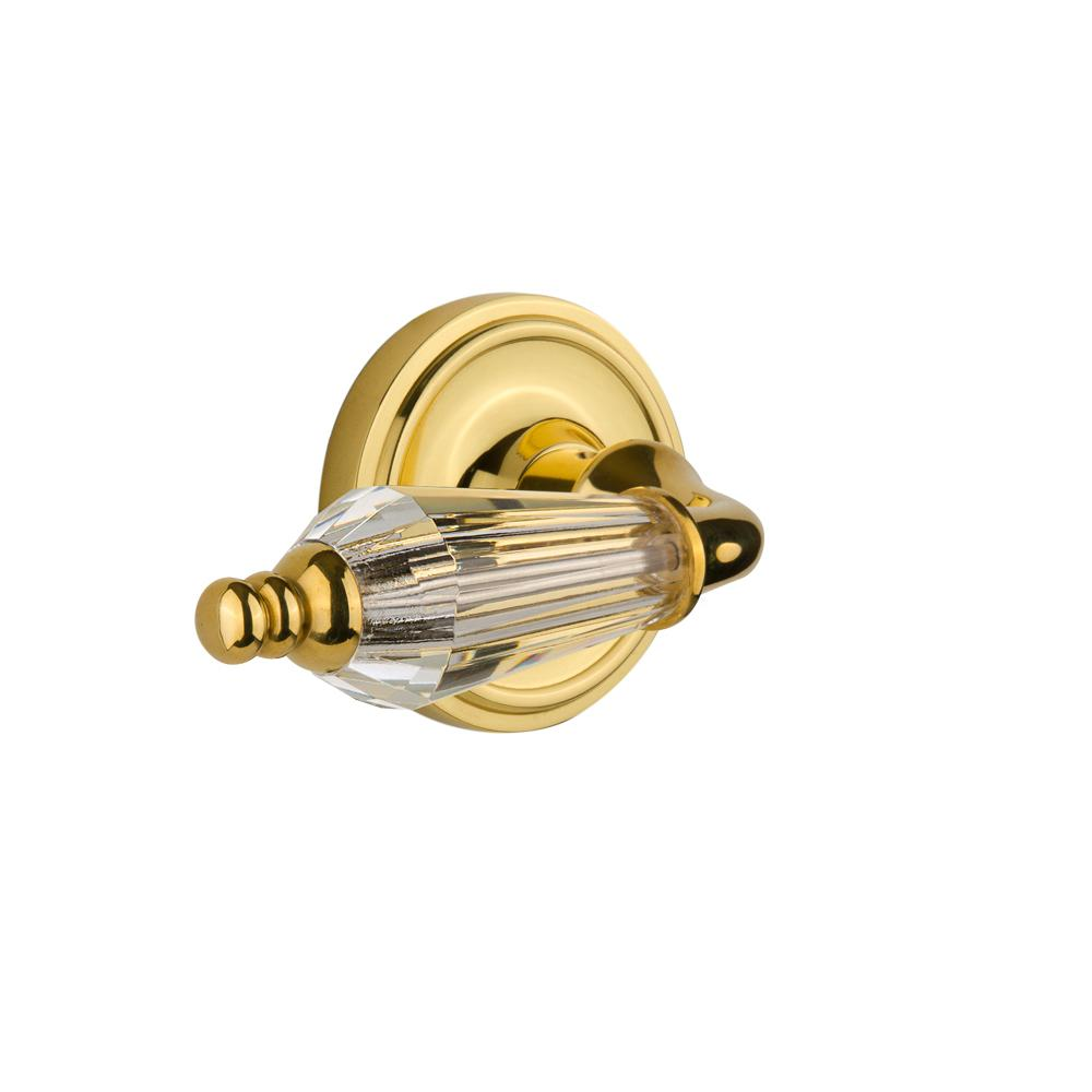 Classic Rosette Interior Mortise Parlor Lever in Unlacquered Brass