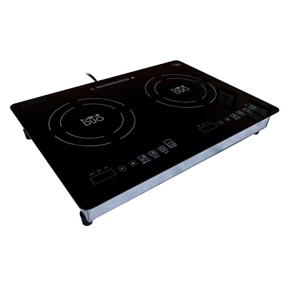 True Induction Mini Duo 20.5 in. Glass Induction Cooktop in Black with 2 Induction Elements