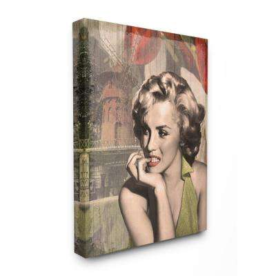 "30 in. x 40 in. ""Thinker's Red Lips Glam Fashion Illustration"" by Grace Popp Canvas Wall Art"
