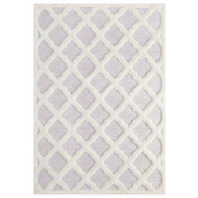Regale Abstract Moroccan Trellis 5 ft. x 8 ft. Shag Area Rug in Ivory and Light Gray