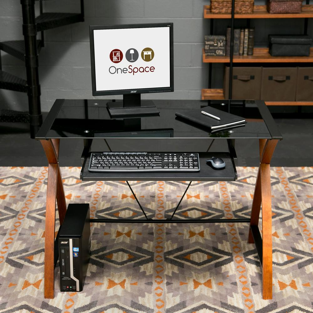 Onespace Black Glass And Wood Computer Desk With Pullout Keyboard Tray