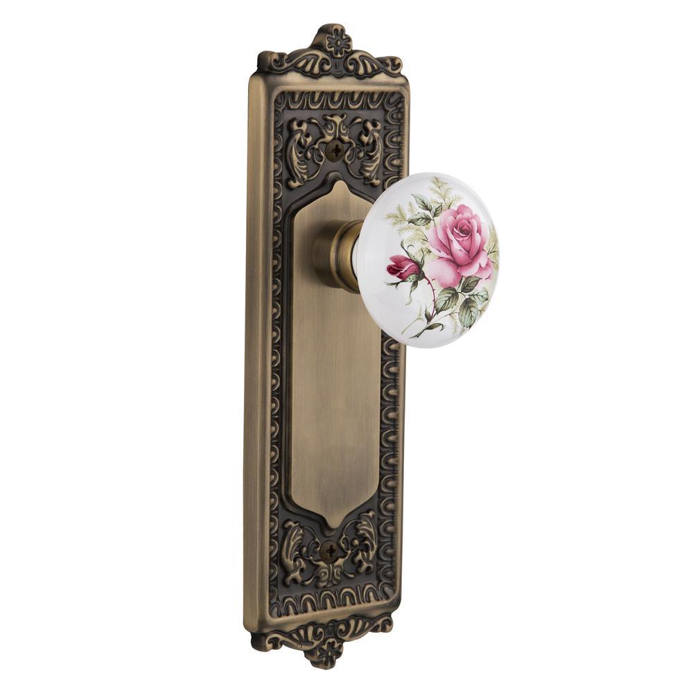 Egg and Dart Plate 2-3/8 in. Backset Antique Brass Privacy White Rose Porcelain Door Knob