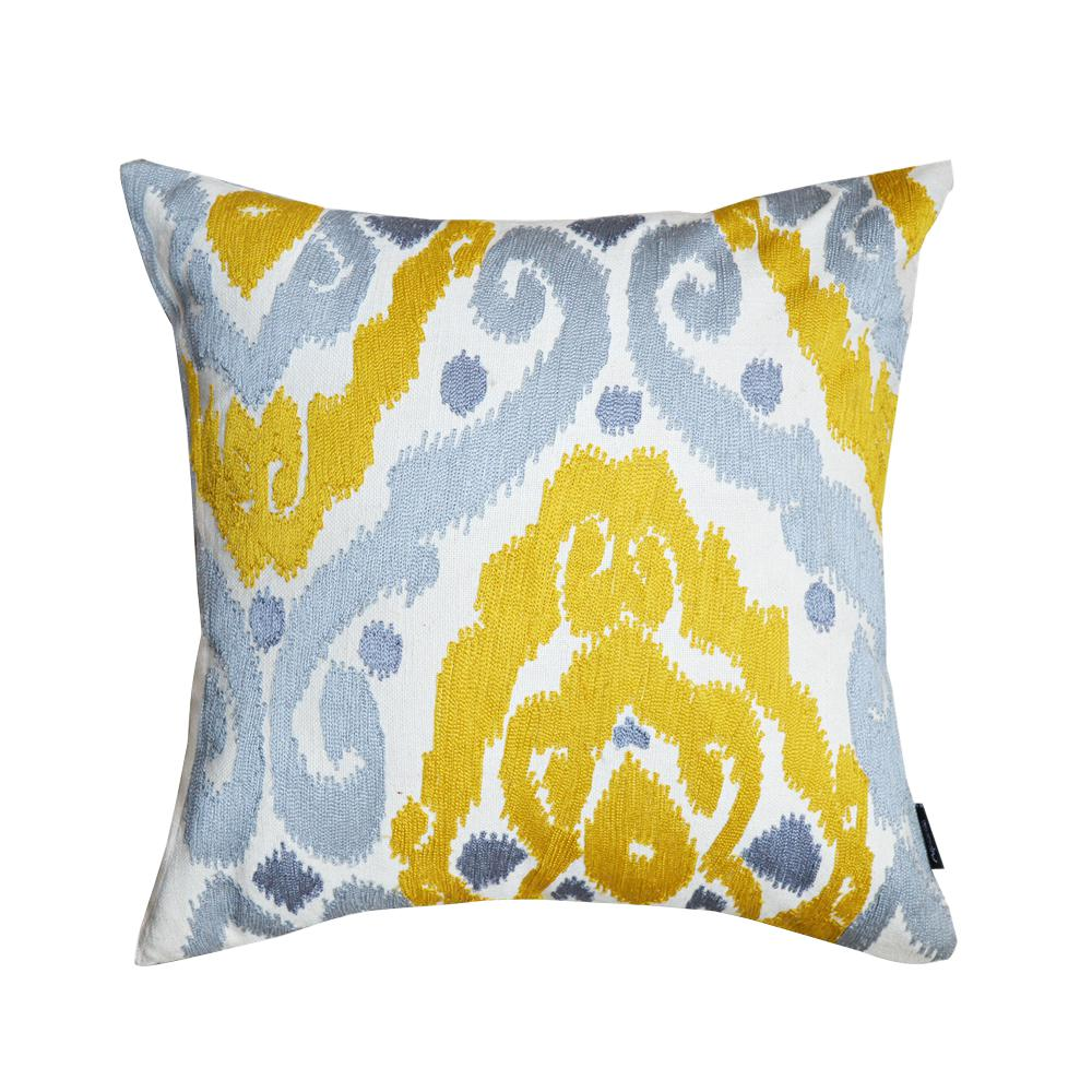 A16HC Crewel Embroidered Sunny Yellow-Grey Ikat 16 in. Throw Pillow ...