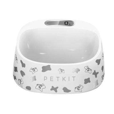 15 oz. Fresh Smart Digital Feeding Pet Dog and Cat Bowl in Grey and White