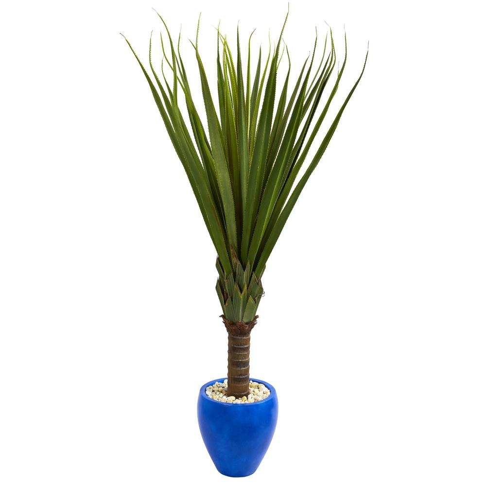 5.5 ft. Indoor Spiky Agave Artificial Plant in Blue Oval Planter