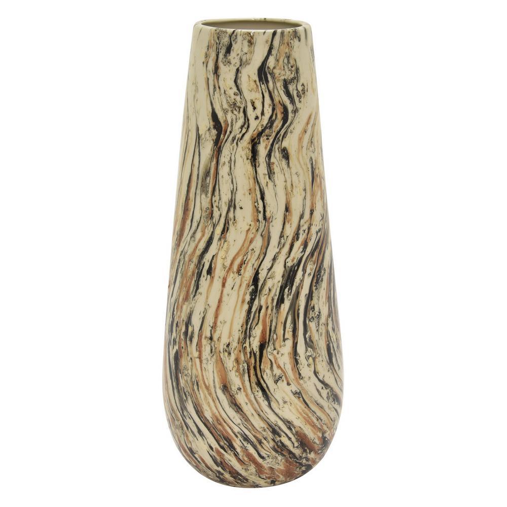 18 in. Porcelain Brown Ceramic Vase