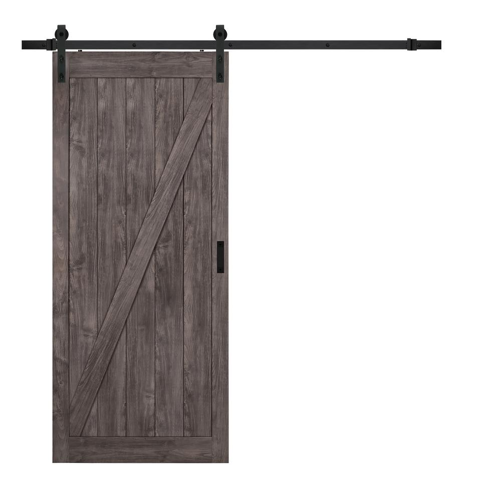TRUporte 36 in. x 84 in. Iron Age Z Design Solid Core Interior Barn Door with Rustic Hardware Kit