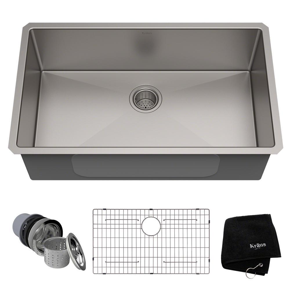 KRAUS Standart PRO 32in. 16 Gauge Undermount Single Bowl Stainless Steel  Kitchen Sink