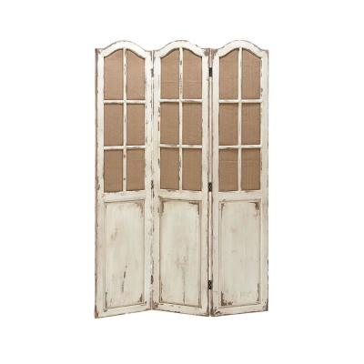 48 in. x 71 in. Distressed Beige and Brown Wood 3-Panel Screen