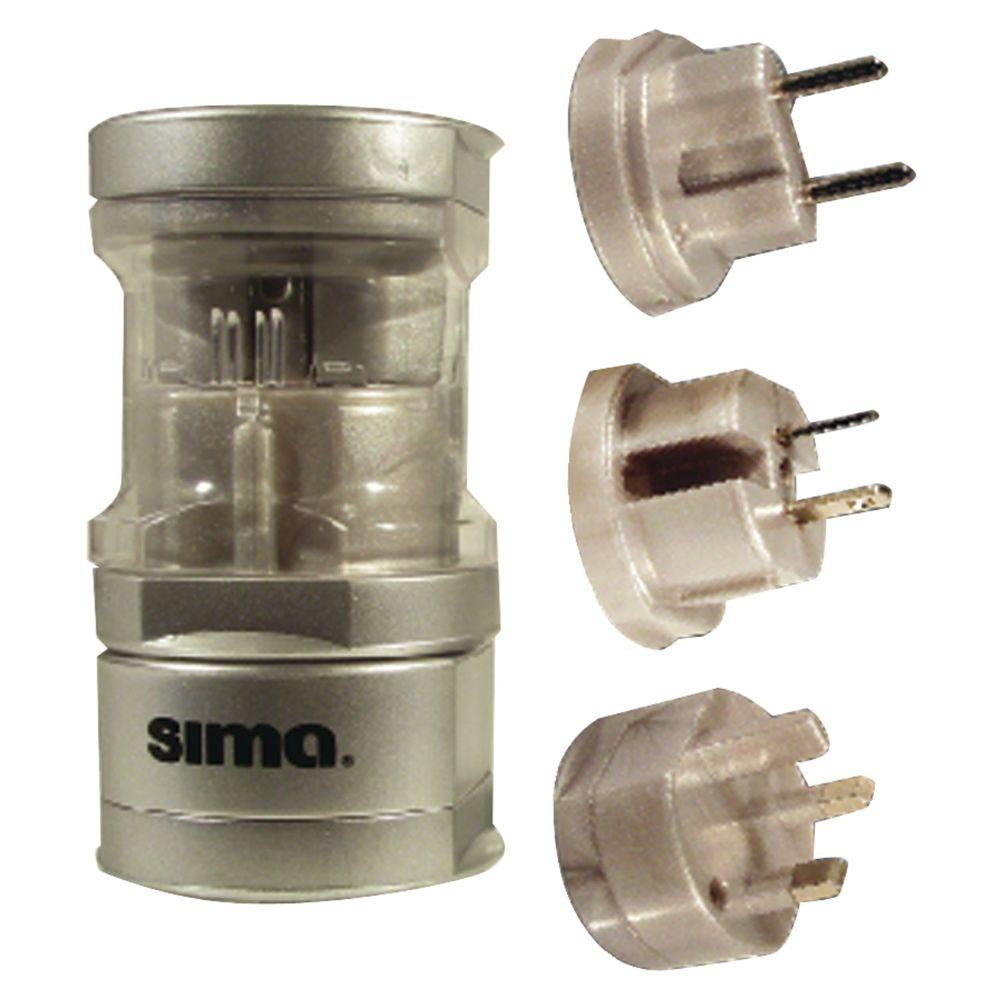 Sima International Compact Travel Power Plug Set, Silver