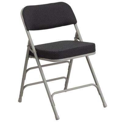 Hercules Series Premium Curved Triple Braced & Double Hinged Black Pin-Dot Fabric Upholstered Metal Folding Chair