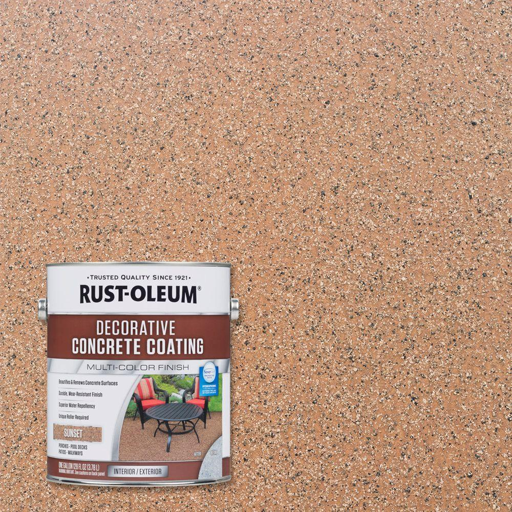 Rust oleum 1 gal sunset decorative concrete exterior solid stain case of 2 301303 the home for Rustoleum exterior concrete paint