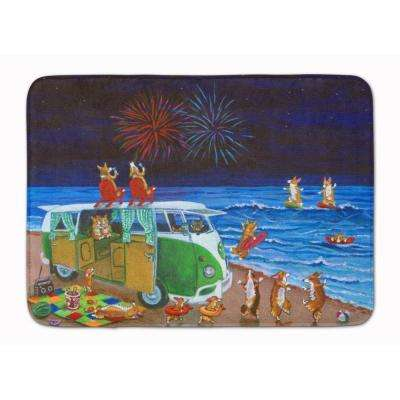 19 in. x 27 in. Corgi Beach Party Volkswagen Fireworks Machine Washable Memory Foam Mat