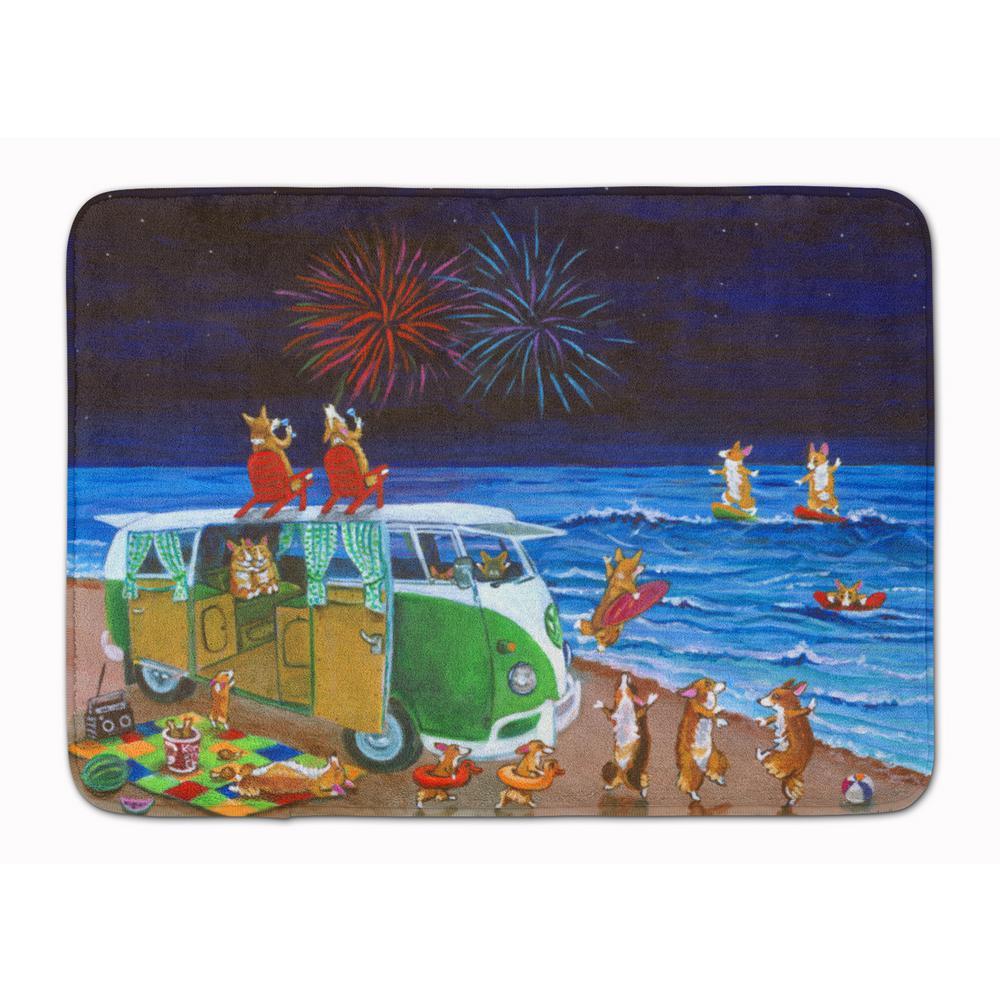 19 in. x 27 in. Corgi Beach Party Volkswagen Fireworks Machine Washable Memory Foam Mat