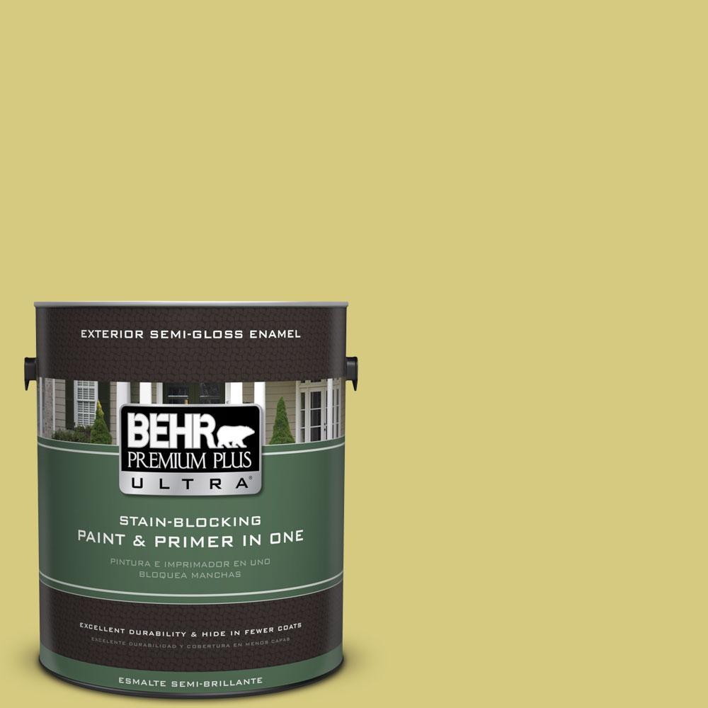 BEHR Premium Plus Ultra 1-gal. #P350-4 Spring Grass Semi-Gloss Enamel Exterior Paint