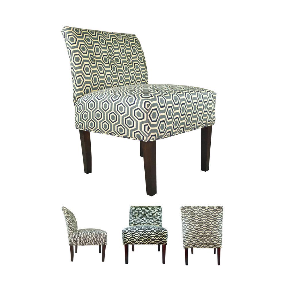 MJL Furniture Designs Ashton Silver Leaf Button Tufted Accent Chair