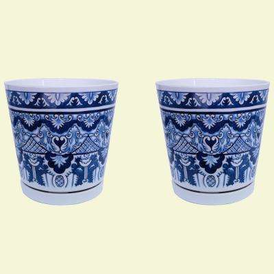 8.75 in dia Blue Marovian Pot with Self Watering Saucer (2-pack)