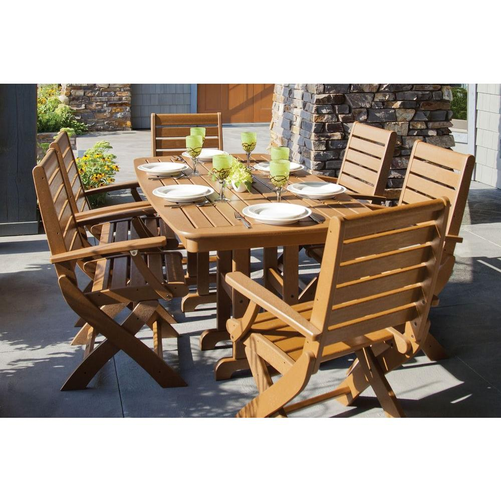 POLYWOOD Signature Teak 7-Piece Plastic Outdoor Patio Dining Set ...