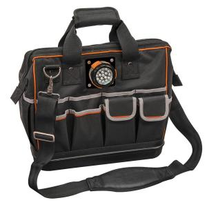 Klein Tools 15-1/4 inch Tradesman Pro Organizer Lighted Tool Bag in Black by Klein Tools