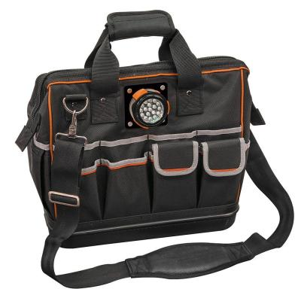 15-1/4 in. Tradesman Pro Organizer Lighted Tool Bag in Black
