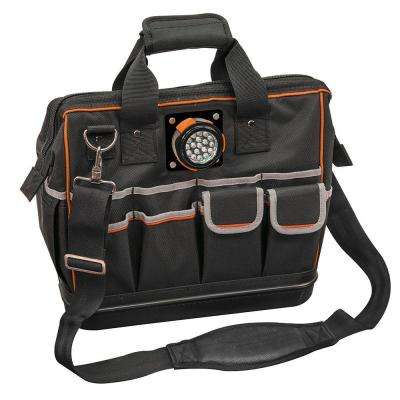 15-1/4 in. Tradesman Pro Organizer Lighted Tool Bag in Black