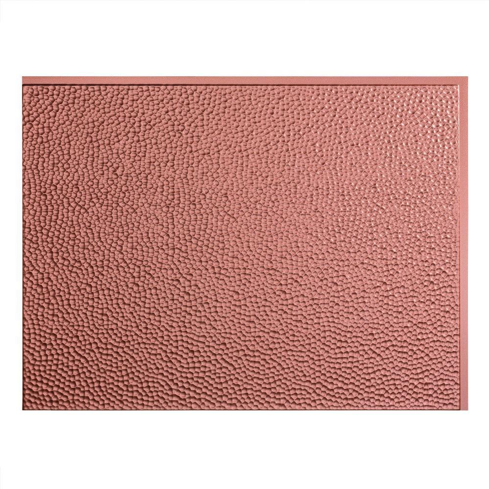 Fasade 24 in. x 18 in. Hammered PVC Decorative Backsplash Panel in Argent Copper