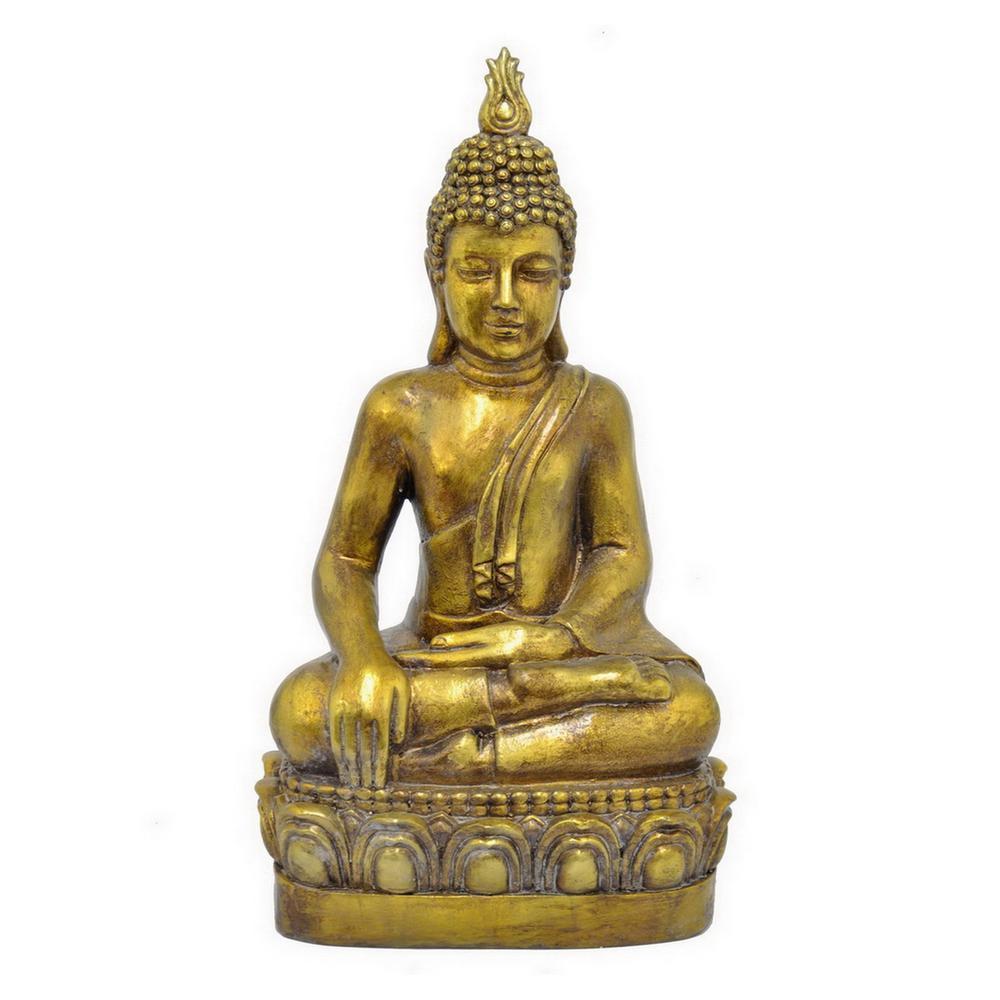 13 in. x 9 in. Fiber Clay Buddha - Gold in Gold