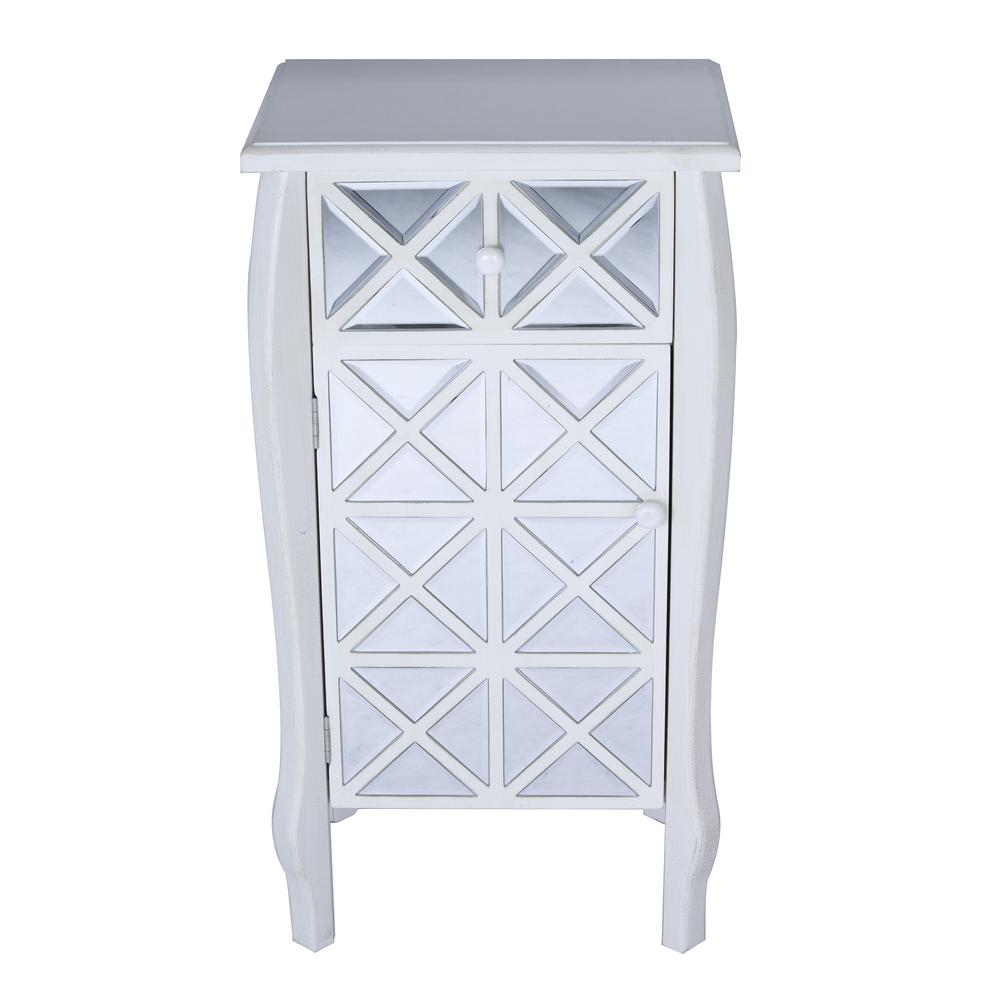 Shelly Assembled 24.75 in. x 24.75 in. x 19 in. Antique White Wood Accent Storage Cabinet with Drawer and Door